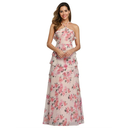 Ever-Pretty Women's Elegant Long Floral Print Halter Bridesmaid Wedding Guest Maxi Dresses for Women 07239 Pink US 4