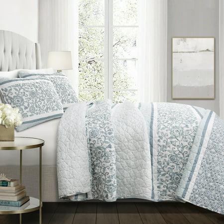 Lush Decor Nisha Stripe Cotton Reversible Quilt, King, Blue, 3-Pc Set