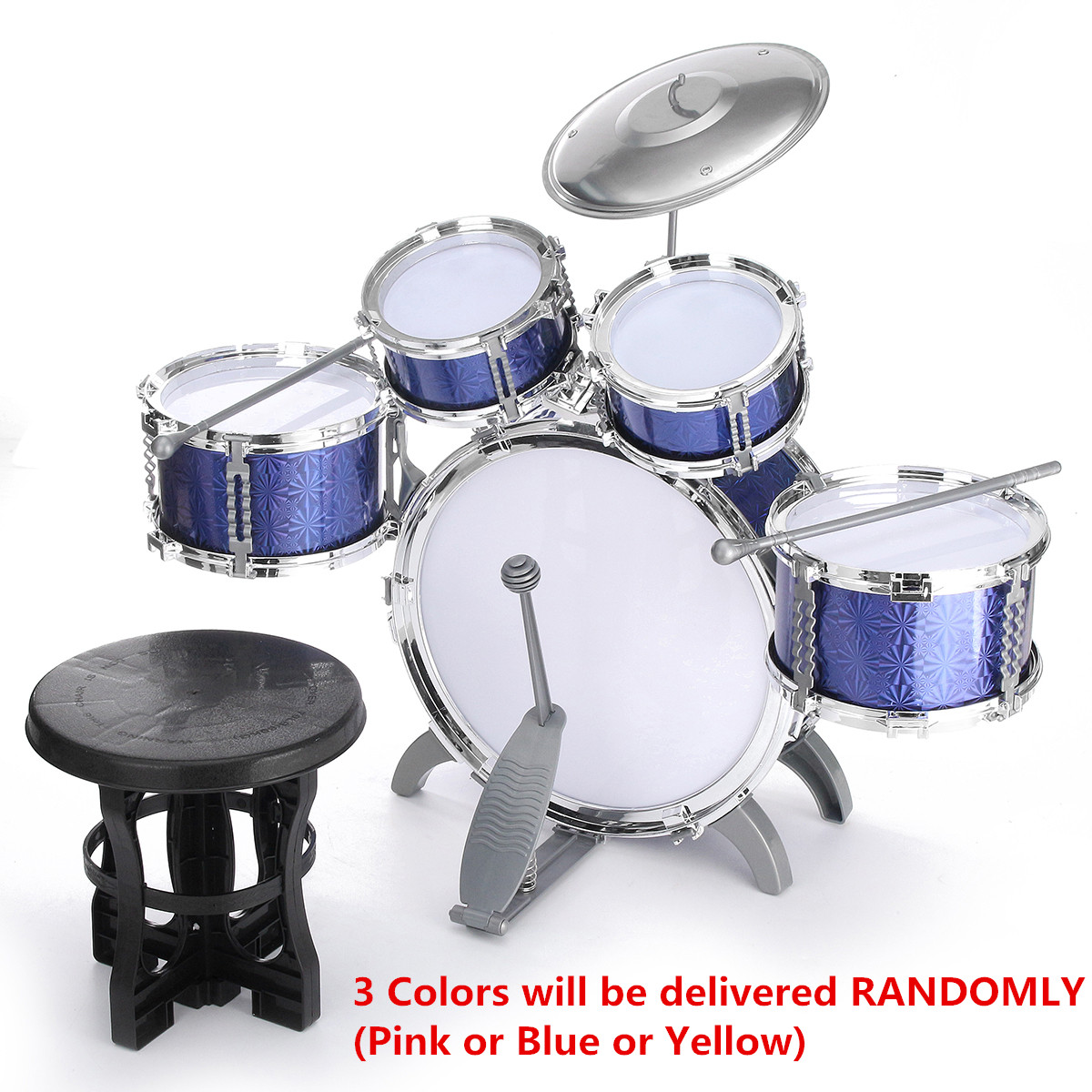 Toy Drum Set for Children 11 Piece Kid's Musical Instrument Drum Playset w/ 6 Drums, Cymbal, Chair, Kick Pedal, Drumsticks - Random Color