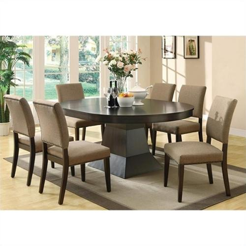 Coaster Myrtle Dining Table and 6 Side Chairs in Coffee
