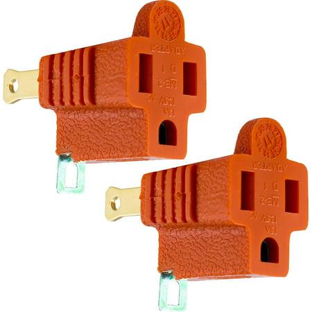 GE 14404 Polarized Grounding Adapter Plug, 2 Pk