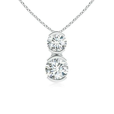Valentine Jewelry gift - Semi Bezel-Set Two Stone Diamond Pendant in 14K White Gold (3.5mm Diamond) - SP0836D-WG-GVS2-3.5 3 Stone Semi Bezel