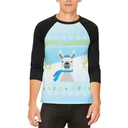 Ugly Christmas Sweater Llama Llamakkah Hanukkah Mens Raglan T - Christmas Llama