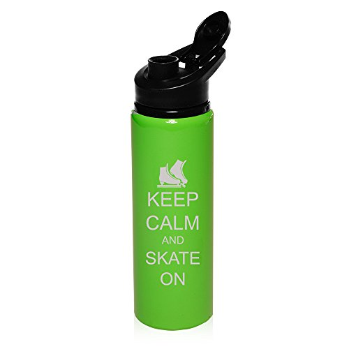 25 oz Aluminum Sports Water Travel Bottle Keep Calm And Skate On Ice Skates (Bright-Green) by