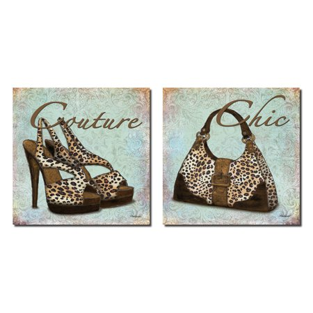 Popular Exotic Leopard Print Chic Purse and Couture High-Heel; Two 12x12 Poster Prints. Teal/Brown