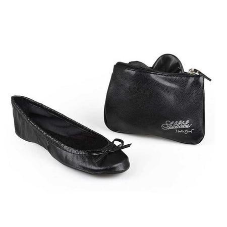 Sidekicks Original Black, Folding Ballet - Black Ballet Flats For Girls
