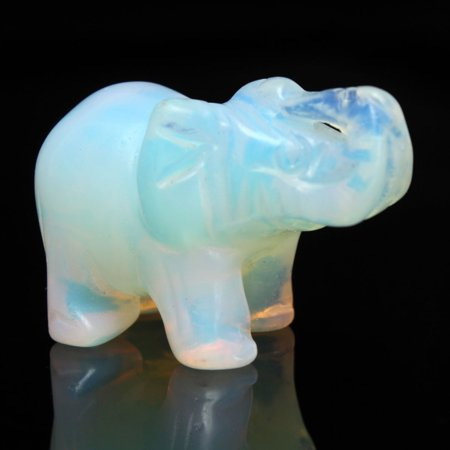 Grtsunsea 40x27mm Gemstone Moonstone Opal White Hand Carved Elephant Ornament Home Decor
