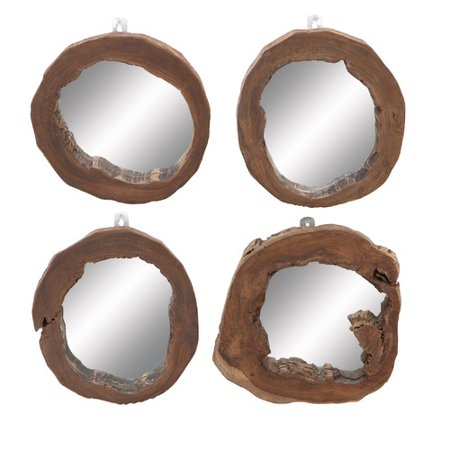 Decmode-teak Wood Mirror Set Of 4 -wood ()