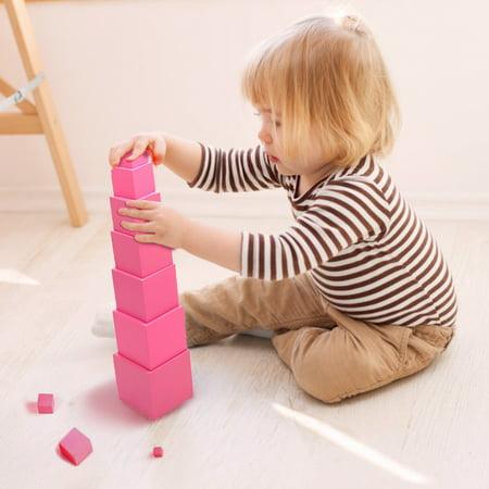 LeKing pour Montessori rose tour mathématiques jouet formation sensorielle blocs de construction en bois jouet d'éducation précoce - image 6 de 8