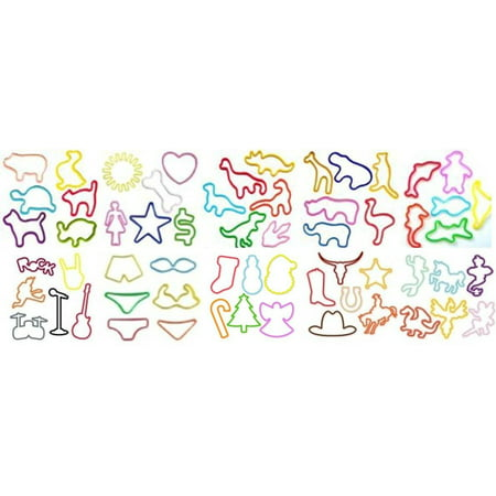 Personalized Silicone Wristbands - New Fun Silly Bands Assorted Shapes, Colors and Sizes Silicone Silly Bandz Rubber Band Bracelets Party Favors- (144 Wristbands Total) Will Be Random