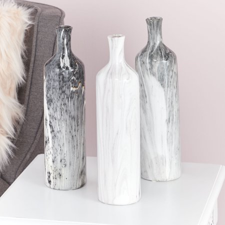 """CosmoLiving Handmade Tall Cylindrical Ceramic Vases with Glossy Black, White, Gray Marble Finishes 