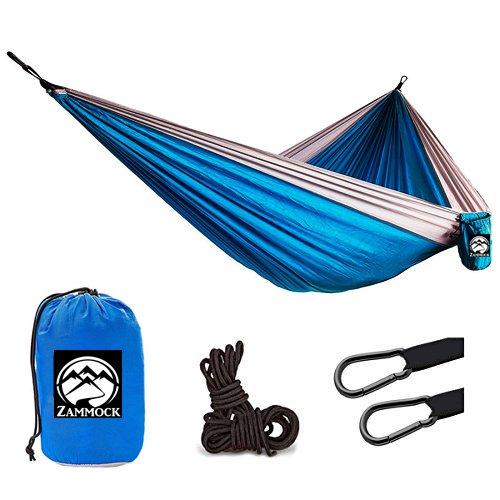 Camping Hanging Double Person Travel Hammock Outdoor With Steel Carabiners (Blue)
