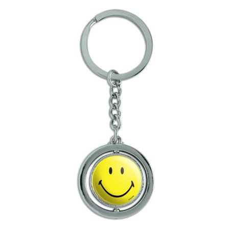 Smiley Smile Happy Yellow Face Spinning Round Chrome Plated Metal Keychain Key Chain Ring