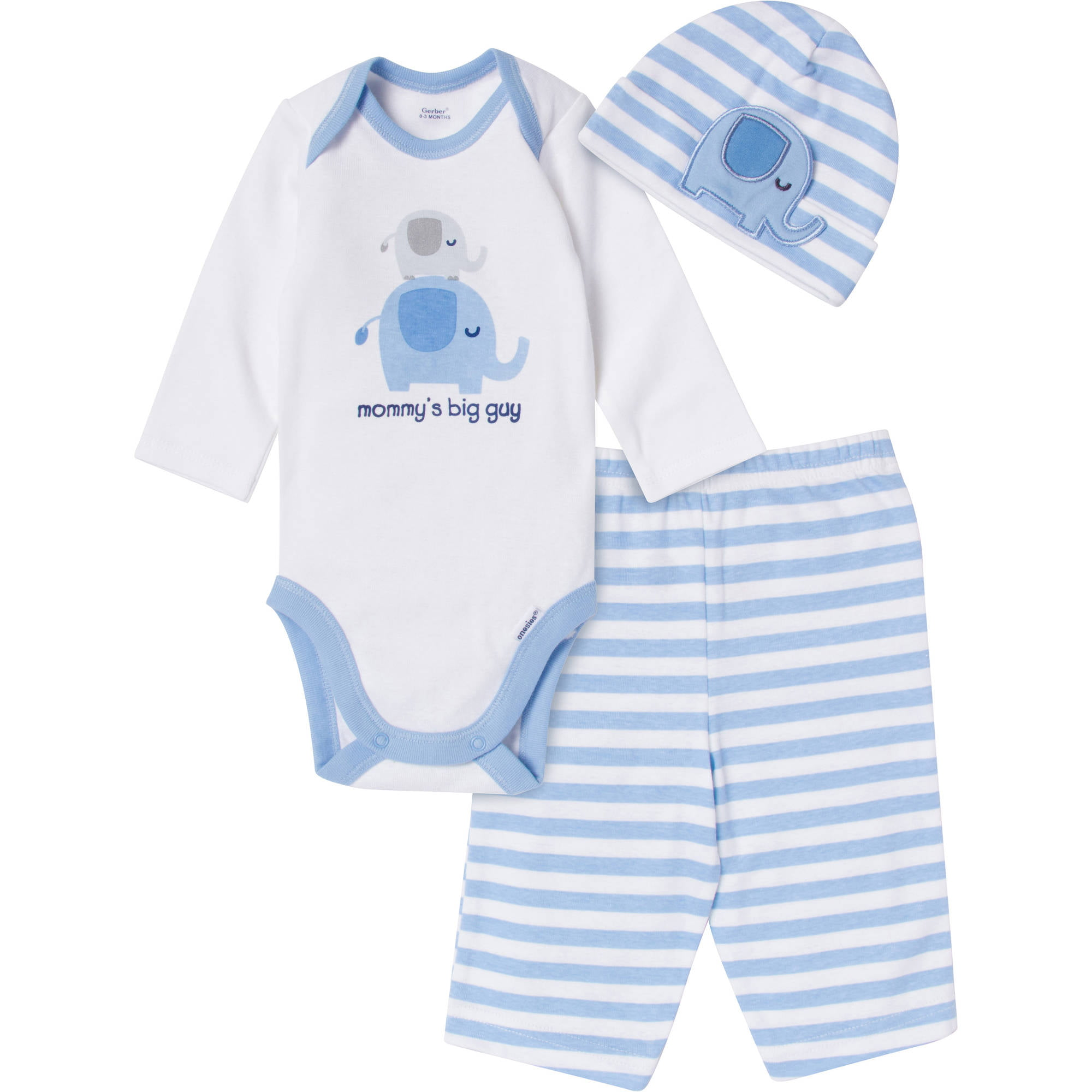 Baby Newborn Boy 3 Piece Elephant Bodysuit Pant and Cap Set