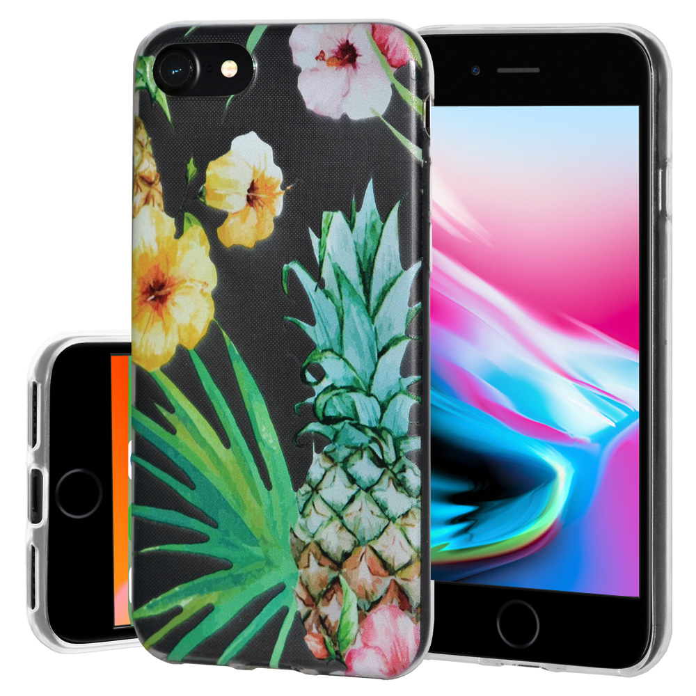 iPhone 8 Case, Premium Soft Gel Clear TPU Graphic Skin Case Cover for Apple iPhone 8 - Tropical, Support Wireless Charging, Slim Fit, ShockProof
