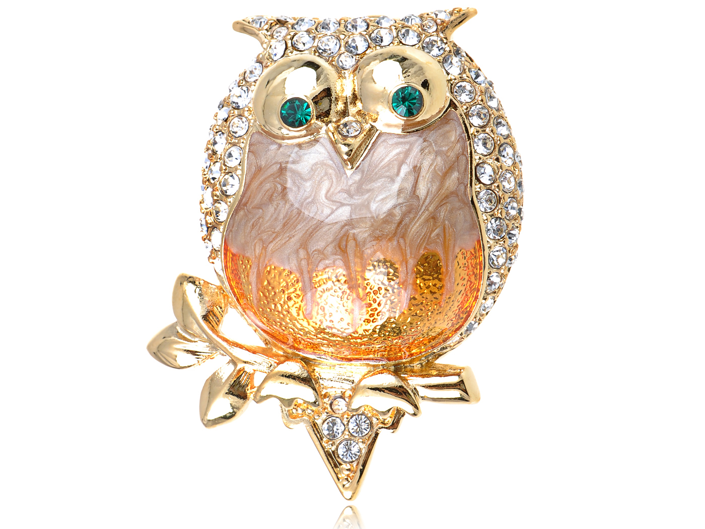 Crystal Elements Pearlescent Fat Chubby Grandpa Owl Bird Pin Brooch by