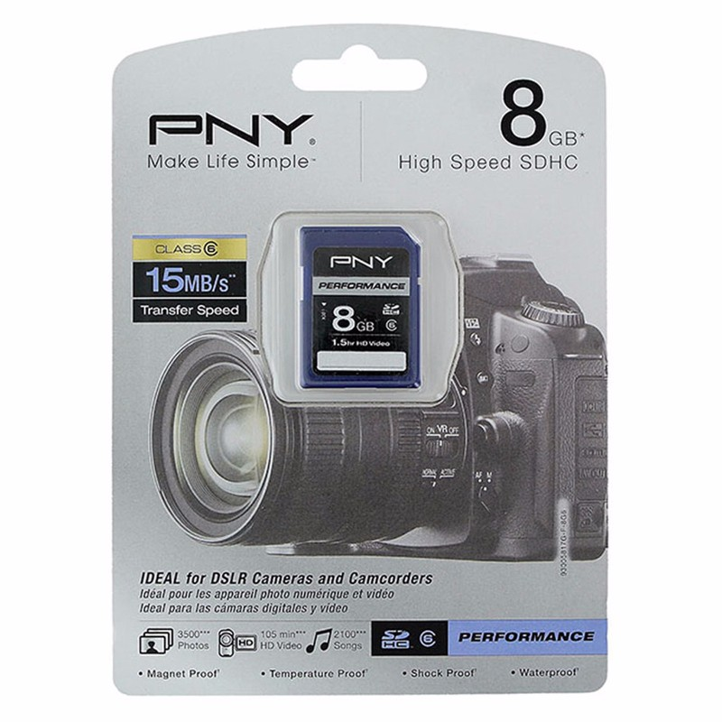 P-SDHC8G6-GE PNY Performance Series 8 GB Class 6 15 MB//s Rated SDHC Flash Memory Card