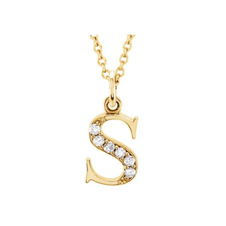 Uniquely Crafted Pretty Diamond S Initial Pendant in 14K Yellow Gold Fabulous Gifting Solution - image 1 de 2