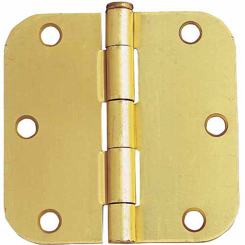 "Design House 202473 6-Hole 5/8"" Radius Door Hinge, 3.5"" x 3.5"", Satin Brass Finish"