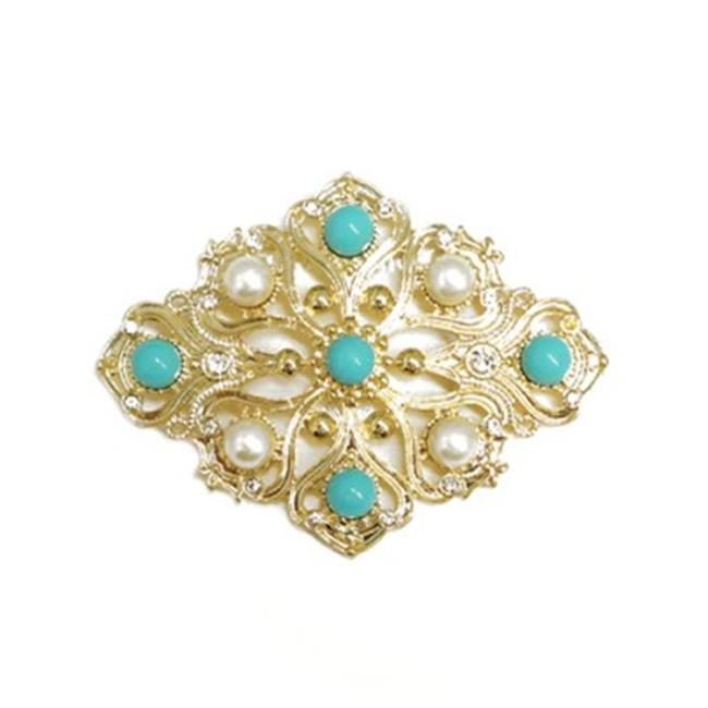 C Jewelry Diamond Design Turquoise And Pearl Bead With Rhinestone Flower Gold Pin by Tanzanite Brooches