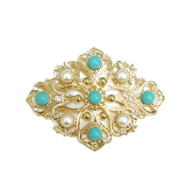 C Jewelry Diamond Design Turquoise And Pearl Bead With Rhinestone Flower Gold Pin by C Jewelry
