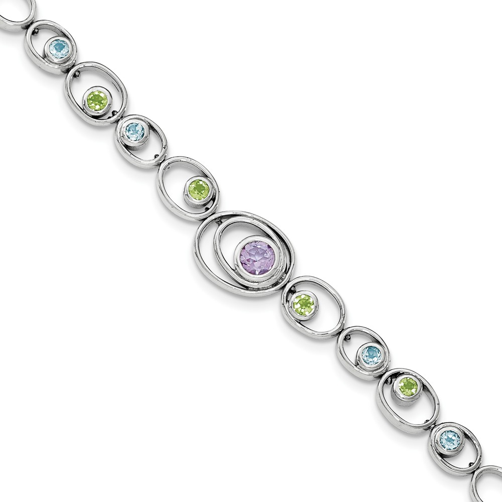 Sterling Silver Rhodium-plated With Peridot Blue Topaz and Amethyst Bracelet 1.57 cwt by Jewelryweb
