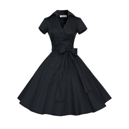 Women Vintage Dress 50S 60S Swing Pinup Retro Casual Housewife Party Ball Gown Fashion Short Sleeve turn-down collar Dresses