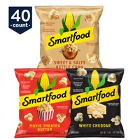 Smartfood White Cheddar, Kettle Corn & Movie Theater Butter Popcorn, 40 Ct Variety Pack (0.5 Oz. Bags)