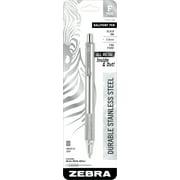 Zebra F-701 Ballpoint Stainless Steel Retractable Pen, Fine Point, 0.7mm, Black Ink, 1-Count