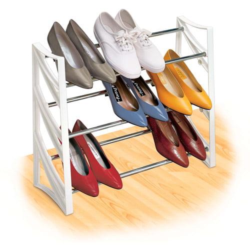 Lynk 9-Pair Convertible Shoe Rack, White