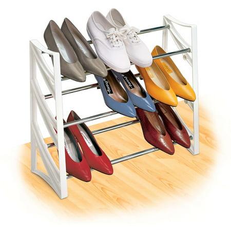 Lynk 9 Pair Convertible Shoe Rack Organizer, 3 Tier, Closet Shoe Rack, - Convertible Rack