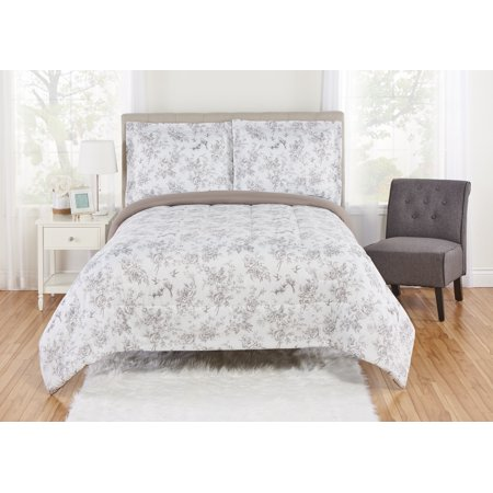 Toile King Comforter - Mainstays Floral Toile Comforter and Sham Bedding Set