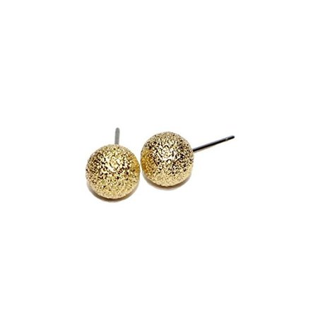 05d0820cb Jewels Fashion - Hypoallergenic Surgical Steel Gold Plated Textured 8 MM  Ball Stud Earrings - Walmart.com