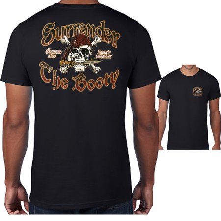 Mens Tshirt Jolly Roger Skull Pirate Surrender The Booty Graphic Tee Tops S-3X