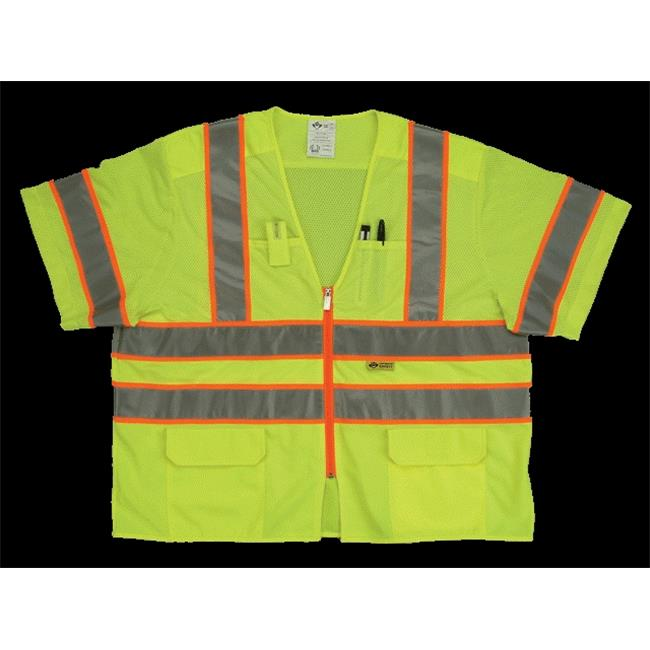 2W MS539C-3 M Class 3 Mesh And Solid, Ansi Vest - Lime, Medium