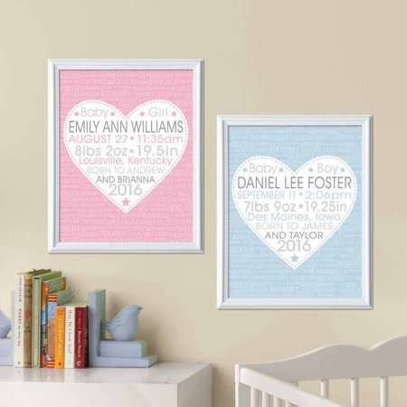 Personalized You Stole Our Hearts Birth Info Print, (Pink Hearts Personalized Honey)