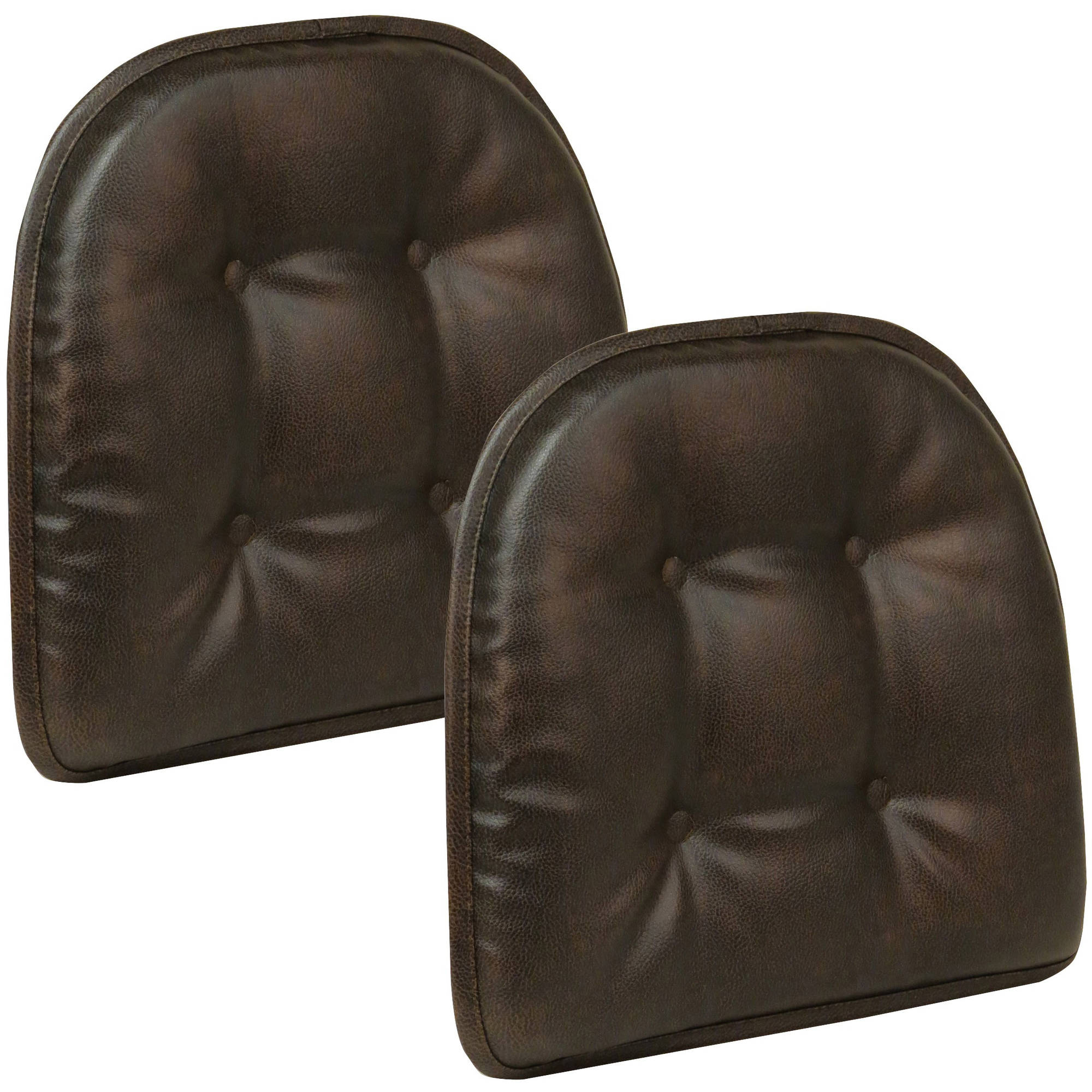 "Gripper Non Slip 15"" x 16"" Faux Leather Tufted Chair Cushions, Set of 2"