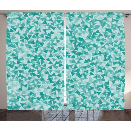 Turquoise Decor Curtains 2 Panels Set, Abstract Triangle Shape Decorative  Modern Contemporary Geometric Artwork, Living Room Bedroom Accessories, By  ...