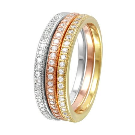 - Clear Cubic Zirconia Tri Color Stackable Bands Ring Plated Sterling Silver Size 6