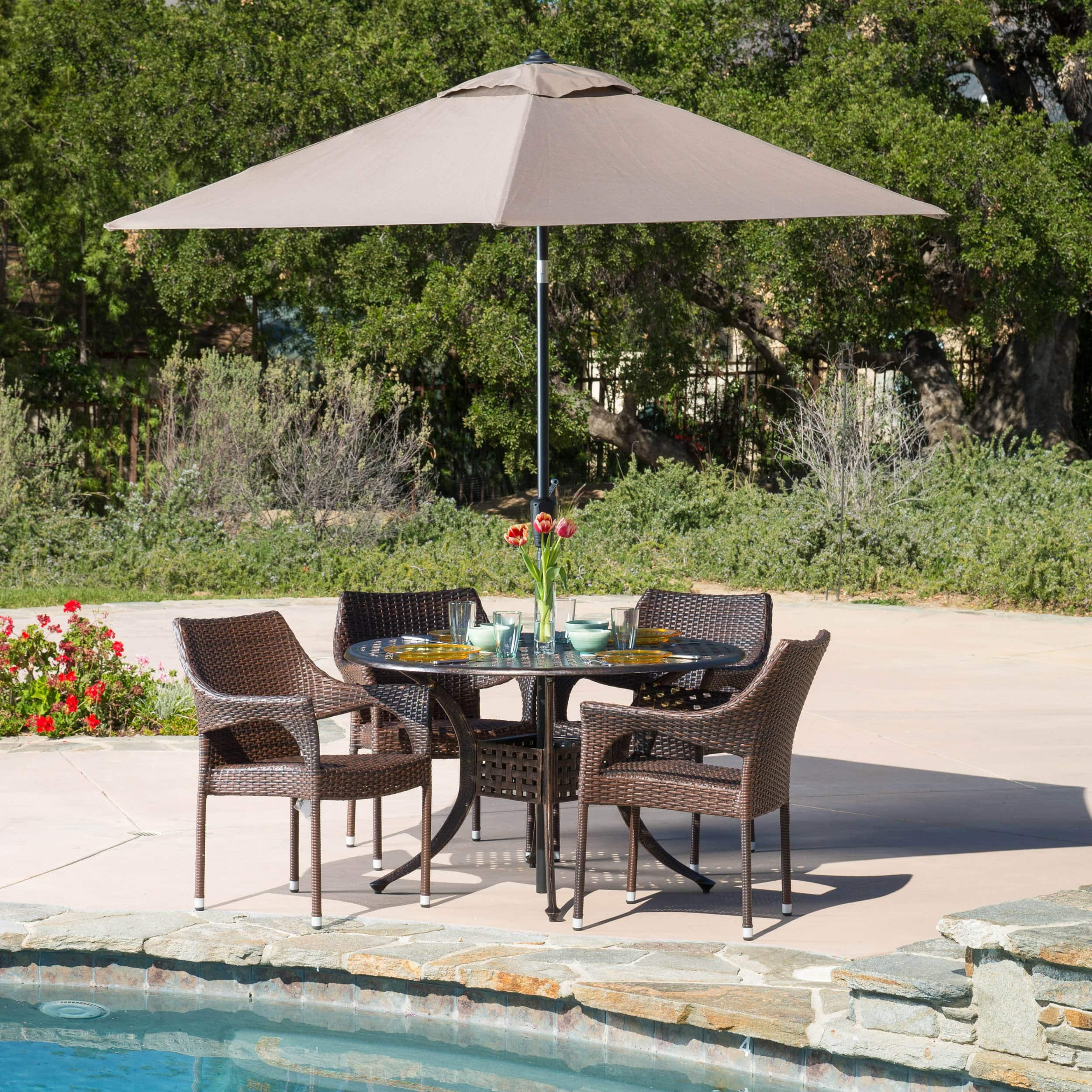 Christopher Knight Home Cliff Circular Outdoor Cast and Wicker 5-piece Set by