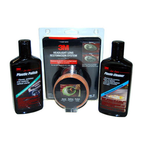 3M Complete Headlight Lens Restoration System Kit with Cleaner, Polish, & Pads
