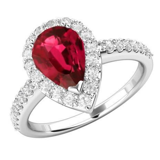 Harry Chad HC10504-6 2.5 CT Pear Cut Ruby with Diamond Wedding Ring - White Gold, Red & G - AAA-VVS1 Clarity - image 1 de 1