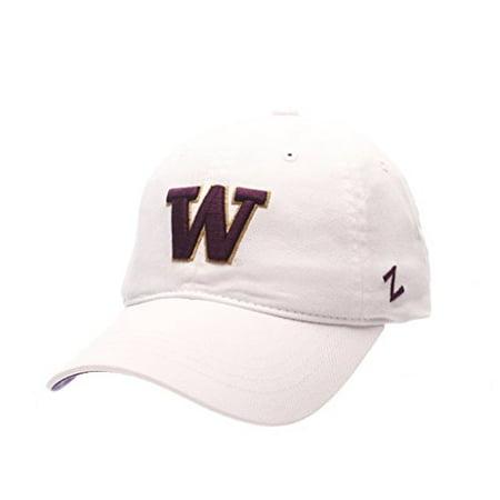 White Washington Hat - ZEPHYR MEN'S WASHINGTON HUSKIES SCHOLARSHIP WASHED ADJUSTABLE HAT WHITE