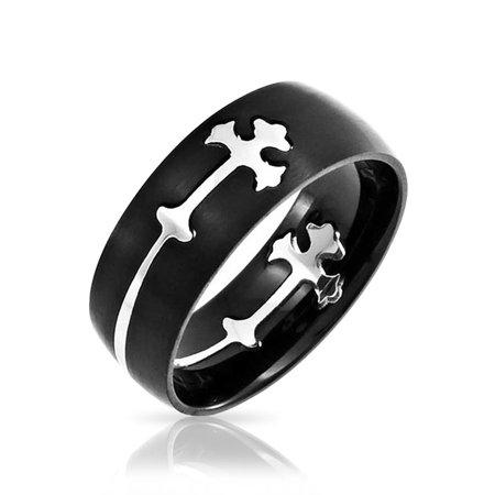 Mens Cross Ring (Black Stainless Steel Wrap Around Design Saint Thomas Cross Fleur De Lis Cut Out Band Mens Puzzle)