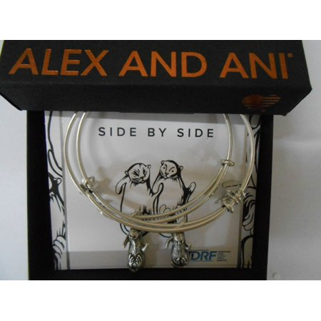 Alex and Ani Charity by Design Side by Side Set of 2 Silver-Tone Otter Bangle Bracelets - Alex Side Halloween