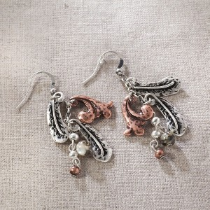 JIM SHORE -  FEATHER DANGLE EARRINGS