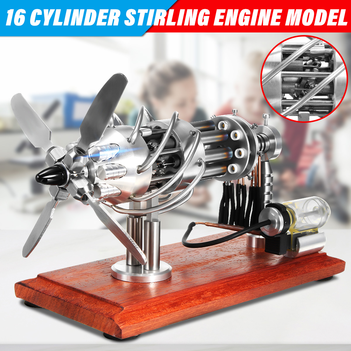 16 Cylinder Hot Air Stirling Engine Motor Model Creative Motor Steam Power Educational Toy