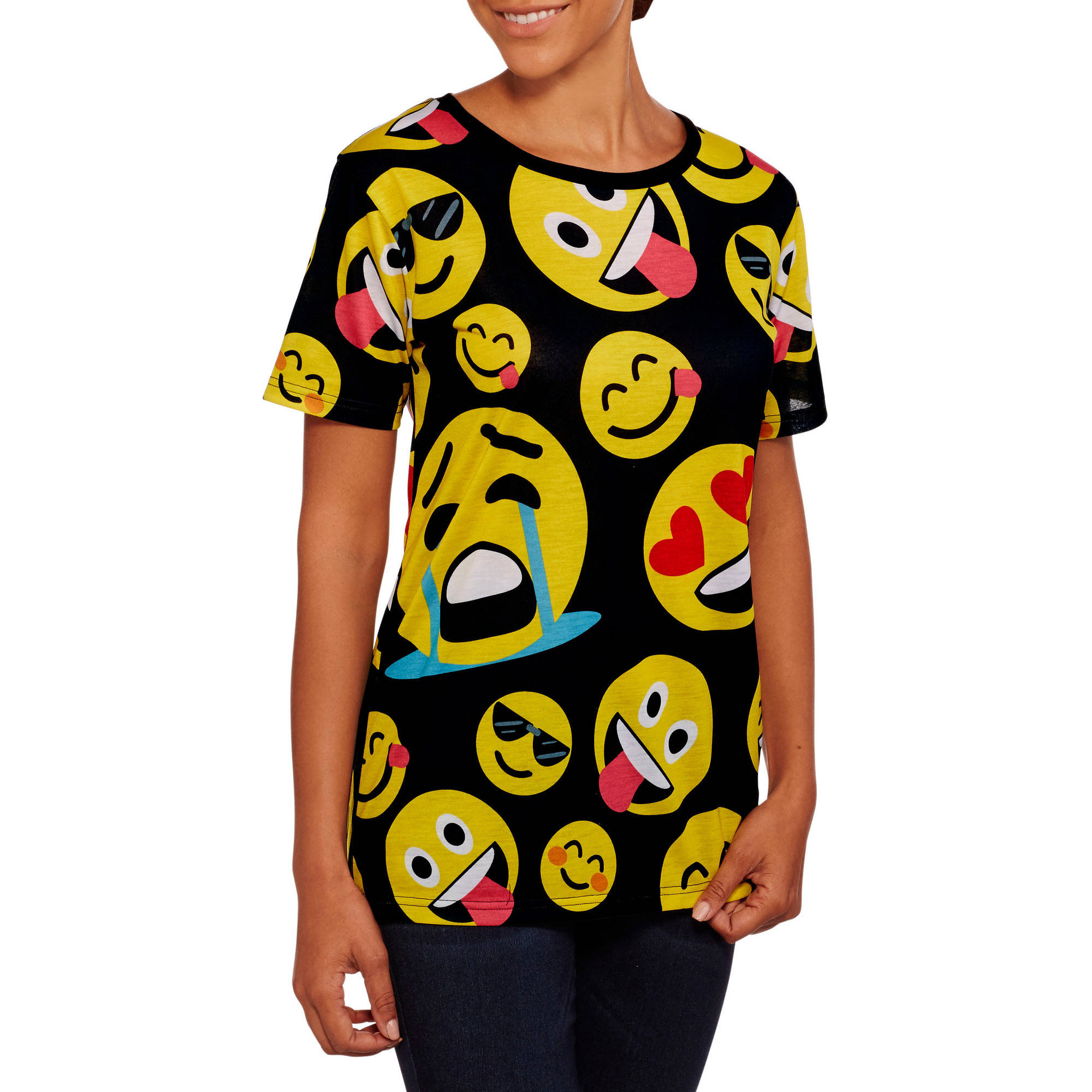 Juniors' Emoji Boyfriend Tee