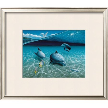 The Chase, Maui Dolphins Framed Art Print Wall Art  By Mark Mackay - - Chasing Dolphins