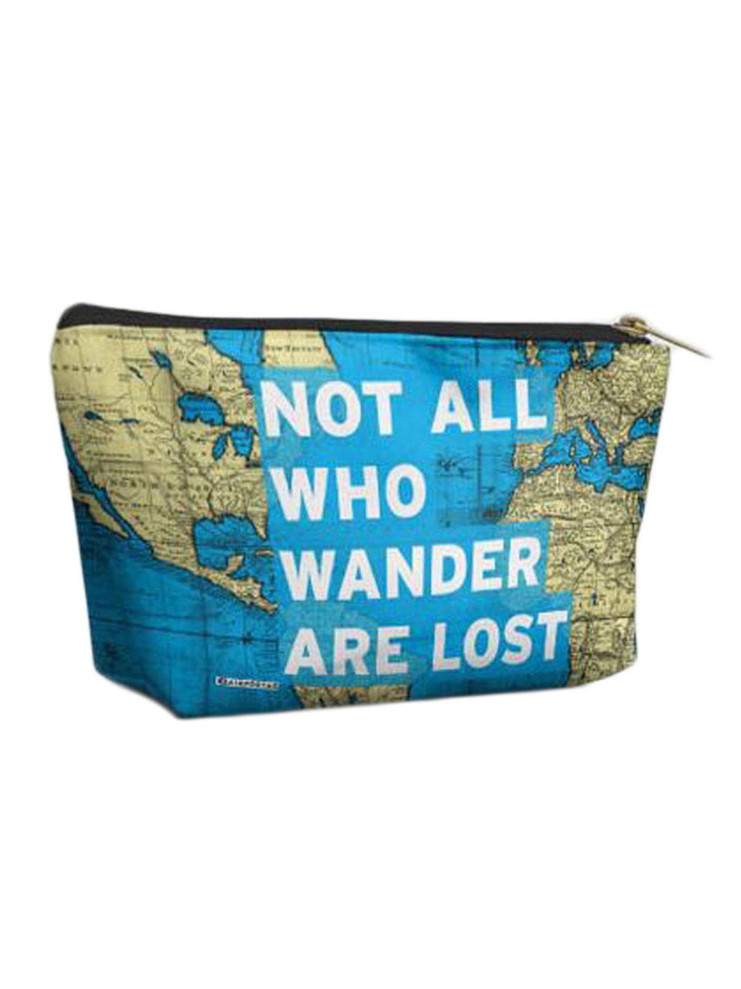 Airportag Not All That Wander Are Lost World Map Quote Vegan Cosmetic Makeup Bag
